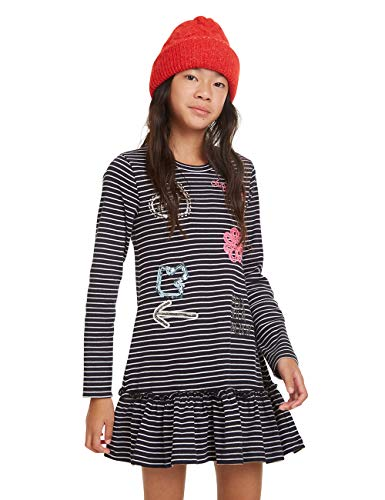 Desigual Mädchen Dress PUERTOVALLARTA Kleid, Blau (Navy 5000), 164 (Herstellergröße: 13/14)