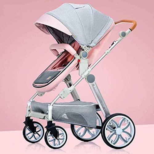 HTZ YQL - Cochecito de silla de paseo ligero con marco de aluminio, gran área de asiento, cesta de almacenamiento extra grande para viajar, ir de compras, caminar (color: verde) (color: rosa)
