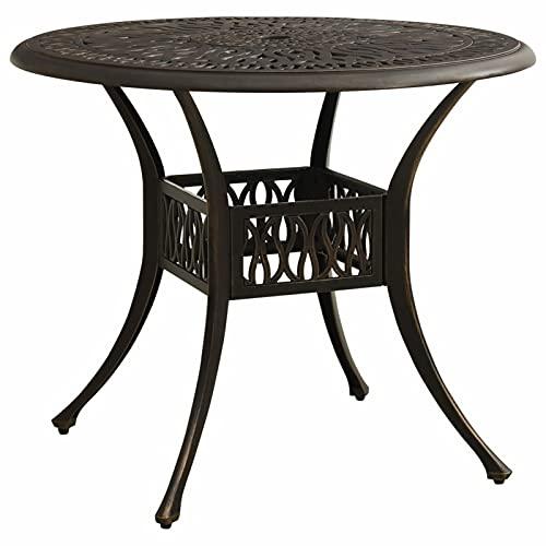 Festnight Gartentisch Balkontisch Rund Beistelltisch Bistrotisch Gartentisch aus Aluminium Tisch Gartenmöbel Bronzen 90x90x74 cm Aluminiumguss