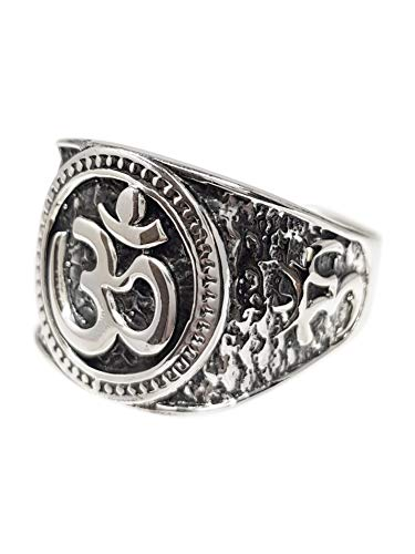 TreasureBay Men's Women's 925 Sterling Silver Ohm Om Ring For Men, Women and Yogis (Y)