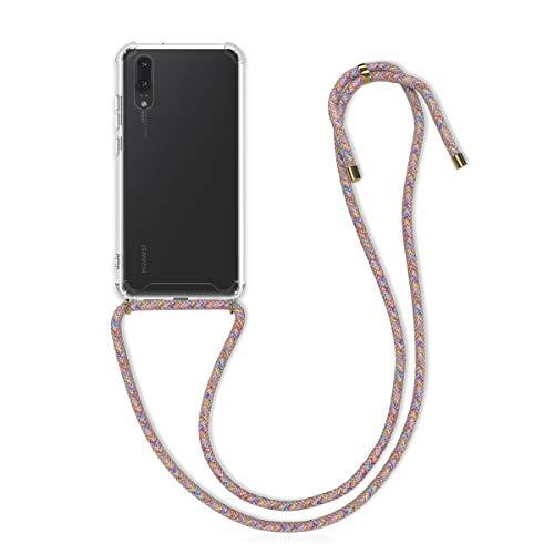 kwmobile Funda con Cuerda Compatible con Huawei P20 - Carcasa Transparente de TPU con Cuerda para Colgar en el Cuello