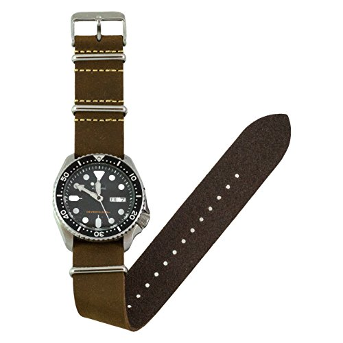 Benchmark Basics Leather Watch Band - Crazy Horse Oiled Leather One-Piece Watch Straps for Men & Women - 18mm, Dark Brown