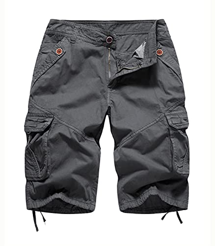 FOURSTEEDS Women's Relaxed Fitted Multi-Pockets Camouflage Twill Cotton Tactics Bermuda Cargo Shorts Dark Grey US 10