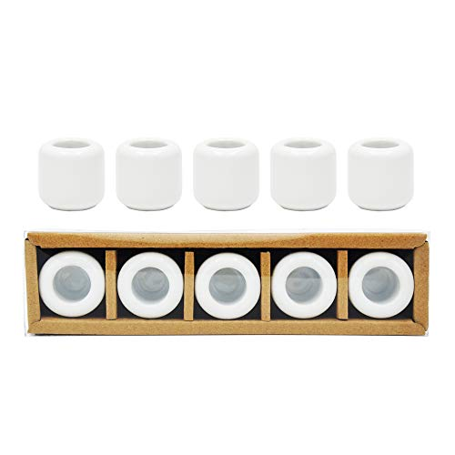 5 pcs Ceramic Chime Candle Holder Set, Great for Casting Chimes, Rituals, Spells, Vigil, Witchcraft, Wiccan Supplies & More (White)
