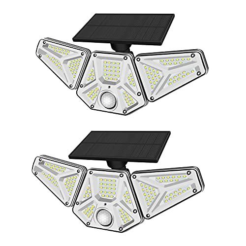 Solarlampen für Außen mit Bewegungsmelder , 113LED High-Brightnes Solarleuchte mit Fernbedienung 3 Modi, 270 Grad Weitwinkelbeleuchtung IP65 wasserdicht, geeignet für Innenhof Solar-Außenleuchte,2 Stk