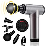 Massage Gun Deep Tissue,Handheld Percussion Massage Gun,High Intensity Vibration Massage Device, Relieves Muscle Tension,Cordless,Including 4 Massage Heads (Gray-Black),Gift for him or her