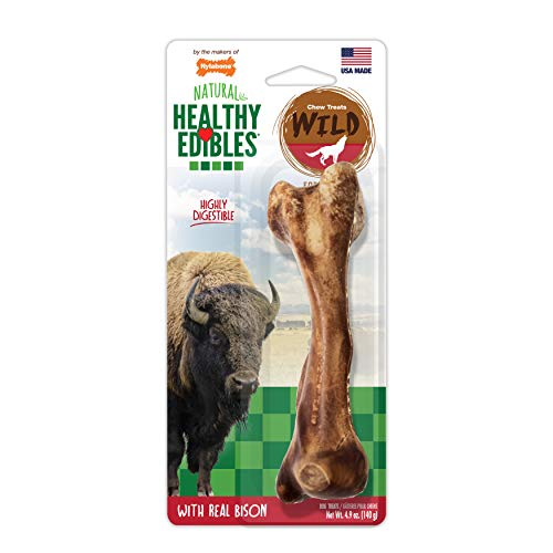 Nylabone Healthy Edibles Wild Bison Dog Treat Bone NEB203P Brown Giant