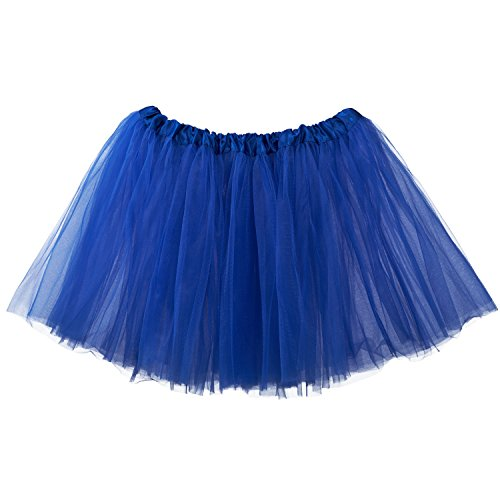 My Lello Adult Tutu Skirt, Classic Elastic 3 Layer Tulle Tutu for Women and Teens - Royal Blue