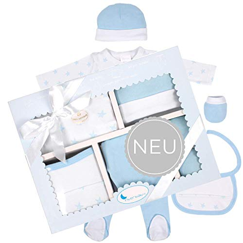 DIKOS  ERÖFFNUNGS-ANGEBOT Baby Erstausstattung für Neugeborene Mädchen/Junge Set 100% Baumwolle Größe 50/56 0-3 Monate Erstlings-Ausstattung Kleidung Baby-Geschenke Geburt Babykleidung (Sterne blau)