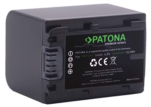 PATONA Premium Ersatz Für Akku Sony NP-FV70 (echte 1600mAh) mit Infochip (neueste Generation / 100 Prozent kompatibel/UL-Zertifiziert)