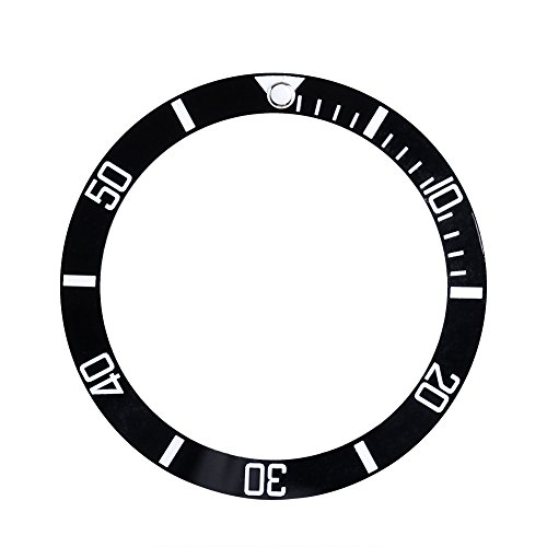 Assista Escrita moldura Inserir encaixa Seiko data de exibição cerâmicas Peças de reposição relógio de pulso (Black)