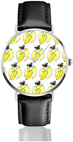 Funny Pud Dog Banana Repeat Black Quartz Movement Stainless Steel Leather Strap Watches Casual...
