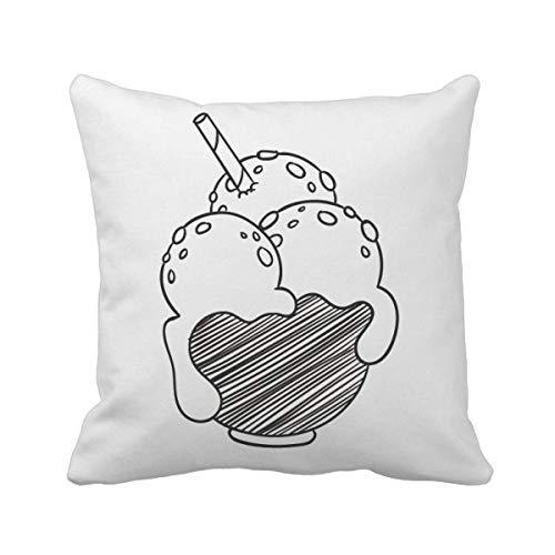DIYthinker Noir Bowl Biscuits crème glacée Boule carrée Coussin Oreiller de Insert Cover Accueil Canapé Décor Cadeau 40 X 40Cm Multicolore