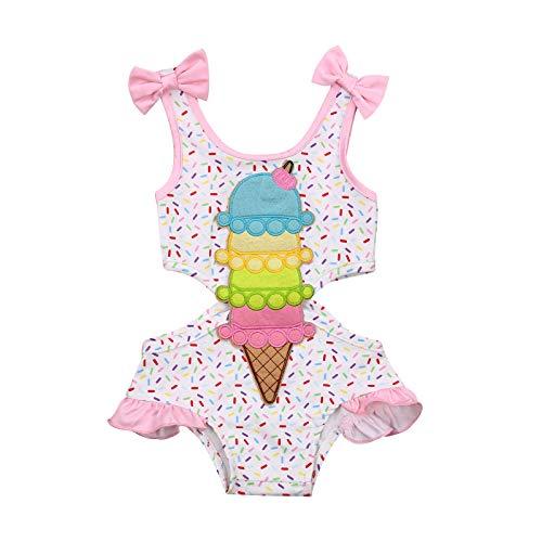 Estate Toddler Girl Costume da Bagno Girocollo Senza Maniche Sling Bow Gelato 0-3 Anni Ragazza Beach Piscina Costume Intero (Bianca, 2-3 Anni)