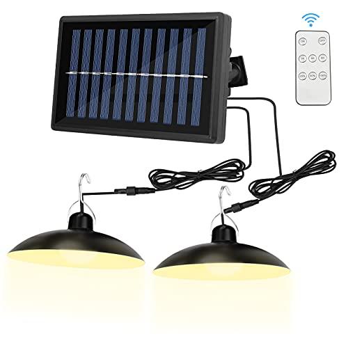 Lámpara solar de camping con mando a distancia, lámpara solar de doble cabezal de 50W para exteriores resistente al agua IP65 con extensión de 2x10ft para camping y jardín cobertizo de garaje