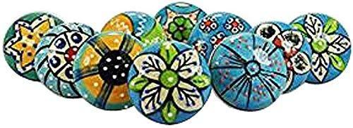 DORPMARKET Juego de 10 pomos de cerámica de color azul cielo con diferentes diseños y accesorios de cromo