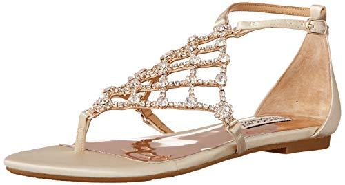 Badgley Mischka Women's Ankle Strap, Flat Sandal, Ivory Satin, 8.5
