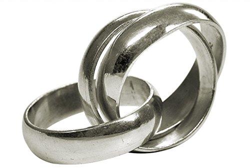 SILBERMOOS Damenring Dreierring verspielt massiv handgeschmiedet glänzend Sterling Silber 925, Größe:54 (17.2)
