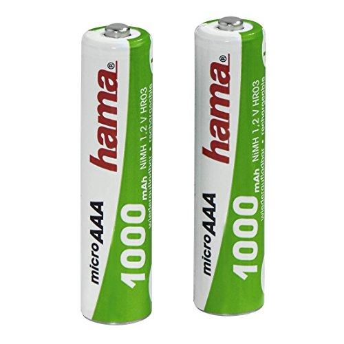 Hama Batterien Set AAA wiederaufladbar (2 leistungsstarke aufladbare NiMH Akkus mit langer Lebensdauer, für Telefone, Rauchmelder, Taschenlampen, Wecker, etc. 1000 mAh, 1,2 V)