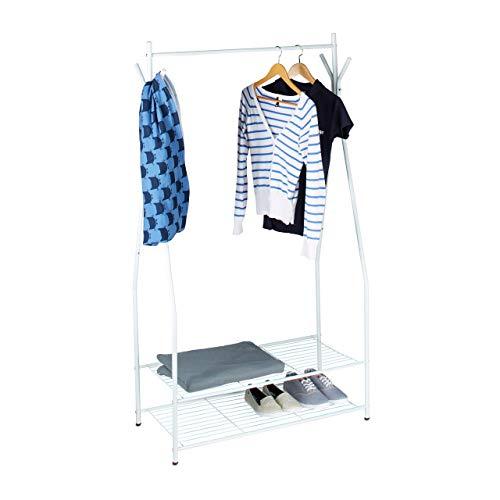 Relaxdays Kleiderständer mit Schuhablage SANDRA, Metall Garderobenständer mit Kleiderstange, HBT: 162x90x40 cm, weißgrau
