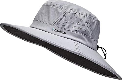 Coolibar UPF 50+ Men's Women's Fore Golf Hat - Sun Protective (Large/X-Large- Steel Grey)