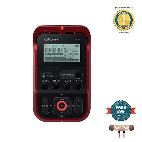 Roland High-Resolution Handheld Audio Recorder Red (R-07-RD) includes Free Wireless Earbuds - Stereo Bluetooth In-ear and 1 Year Everything Music Extended Warranty