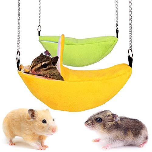 1pc Hamster Cotton Nest Banana Shaped Haus Hammock Etagenbett Bett-Haus-Spielzeug Käfig Hamster Kleintier Vogel Haustier Supplies- Zufällige Farbe