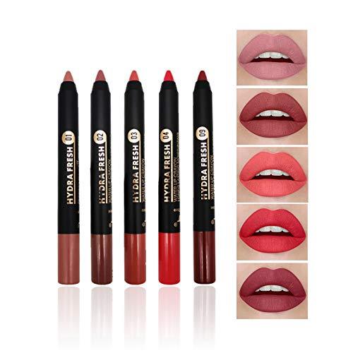 Set di Rossetti Opachi a 5 Colori, Kiogyek Lipstick in Velluto Nudo, Set di Rossetti Impermeabili a Lunga Durata con Temperamatite a Due Fori, Set per Trucco Color Carne (A)