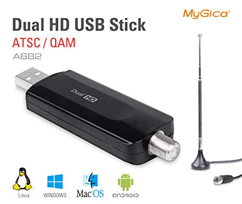 MyGica Dual Tuner Digital ATSC QAM USB 2.0 TV Tuner Stick - Watch Live TV in Full HD with Mini TV Antenna/PIP, Support Windows, Linux, and Android TV