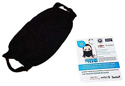 SILVADUR Face Mask, Washable & Reusable, Black, Antimicrobial efficiency up to 40 times