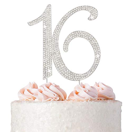 16 Cake Topper - Premium Silver Metal - Sweet 16 Birthday Party Sparkly Rhinestone Decoration Makes a Great Centerpiece - Now Protected in a Box