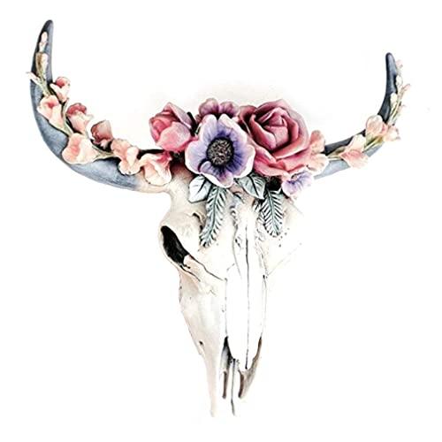 Decoraciones de jardín, suculentas/flor, calavera de vaca, decoración de pared, decoración de guardería, adorno de resina con orificio para colgar, calcomanías de pared para dormitorio de
