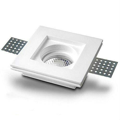 Tecno&Led® - Porta faretto in gesso ceramico quadrato verniciato slim 10x10 basso con ferro ferma faretto + attacco GU10 per faretto