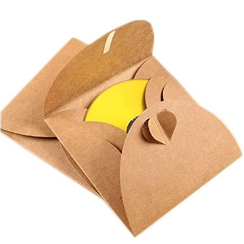 Anyasen Kraft Paper custodia CD/DVD Buste di Carta Custodie 50 Pezzi Buste Porta CD Ideali per Scrapbooking 13 x13 cm