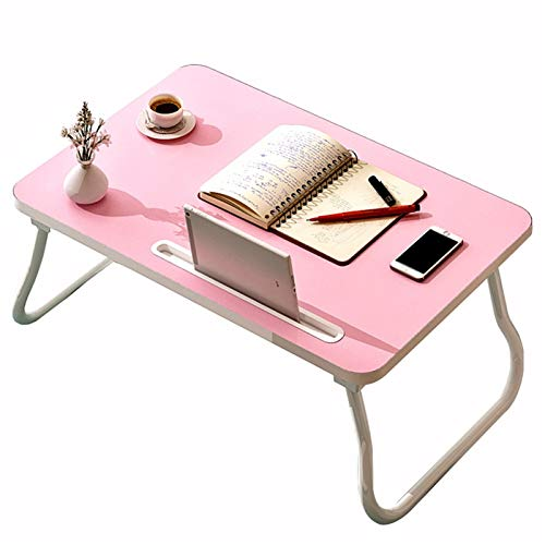 Computer Workstations Folding Laptop Stand, Mobile Laptop Computer Desk Table, Sofa Side End Bedside Table Overbed Table Breakfast Serving Bedroom with Card Slot Portable Table (Color : C)