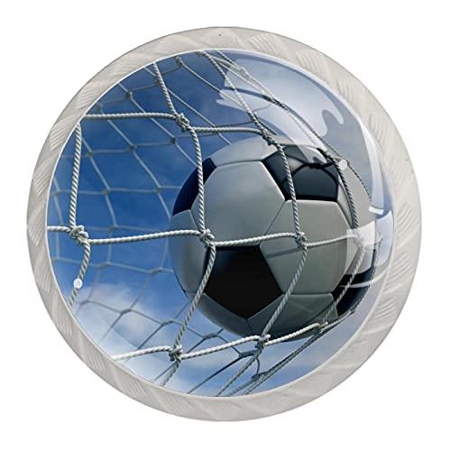 Red de pelota de fútbol deportivo, paquete de 4 pomos redondos modernos para oficina, hogar, cocina, baño