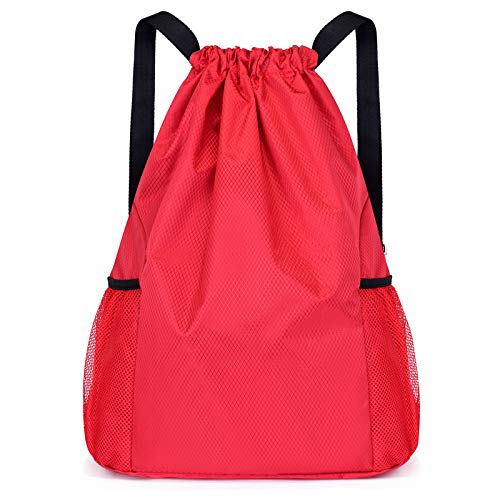 Fangoshop Basketball Bag Football Drawstring Backpack Large Capacity Beam Mouth 20L Large red