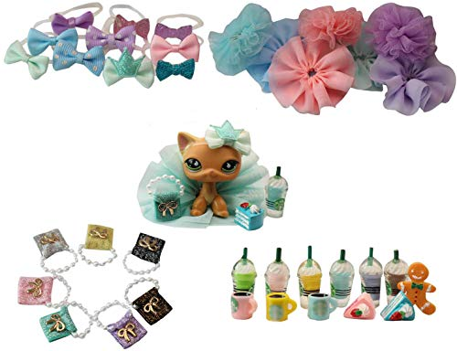 LPS Accessories Lot (Random 5 PCS Clothes Bow Skirt Bag Food and Coffee Drink for LPS Shorthair Cat Collie Great Dane Cocker Spaniel Husky Dog