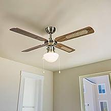 QAZQA Retro Industriële plafondventilator met lamp 100 cm hout - Wind Glas/Hout/Staal Rond Geschikt voor LED Max. 1 x 60 Watt
