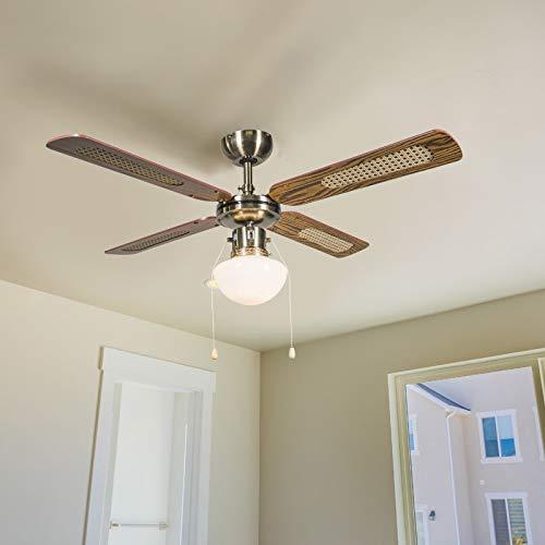 QAZQA Retro Industrieller Deckenventilator mit beleuchtung mit Lampe 100 cm Holz - Wind/Innenbeleuchtung/Wohnzimmerlampe/Schlafzimmer/Küche Glas/Stahl Rund LED geeignet E14 Max. 1 x 60 Watt