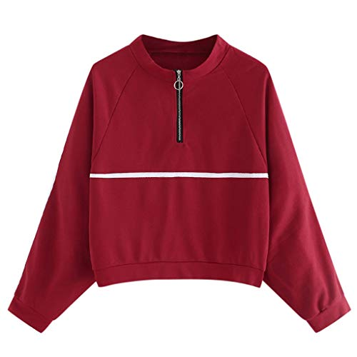 Fantastic Deal! Women Half Zip Pullover Sweatshirt Red Crewneck Long Sleeve Blouse Top Lightweight C...