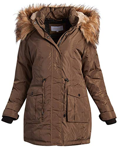Madden Girl Women's Heavyweight Puffer Anorak Jacket with Sherpa Fur Lined Hood (Olive with Fur, Large)