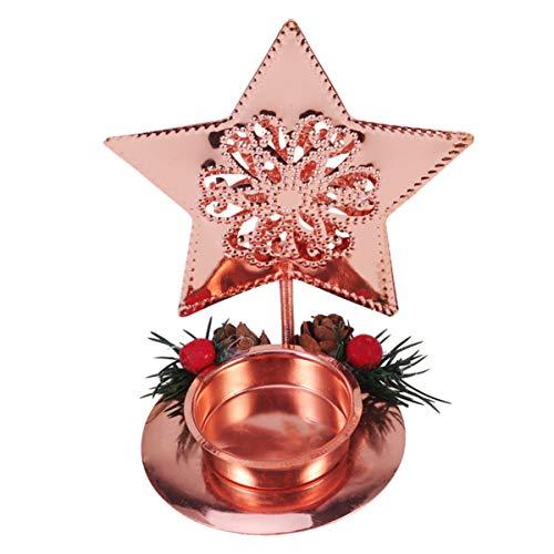NUOBESTY weihnachtskerzenhalter sternform kerzenständer für Weihnachten Urlaub Hochzeit herzstück Abendessen tischdekoration (Gold)