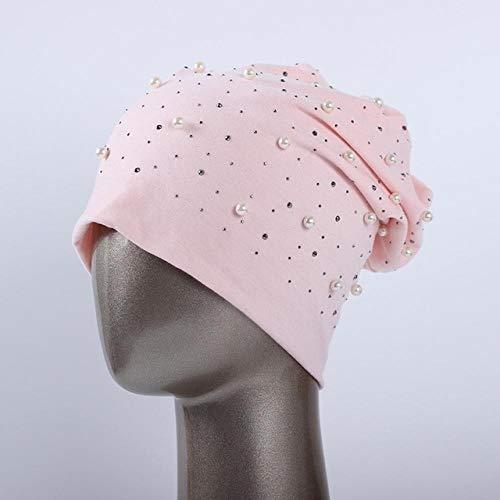 JIANGYA Gorro Beanie para Mujer Casual Poliéster Brillo Perlas Y Pedrería Gorros para Mujeres Sombreros con Calavera, Rosa