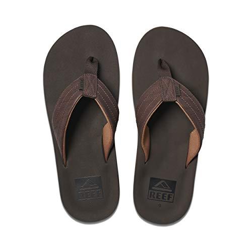 Reef Men's Sandal Twinpin Lux |Comfortable Men's Flip Flop with Vegan Leather Upper | Brown | Size 12