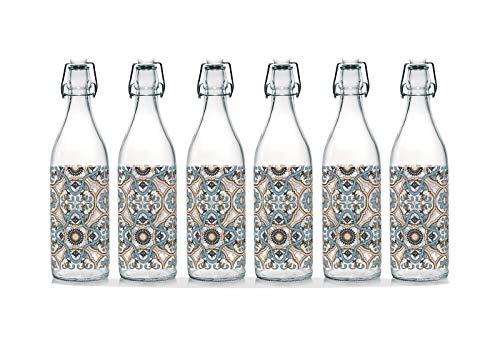 Botella de agua de cristal de mesa decorada con tapón hermético, fabricada en Italia, capacidad de 1 l (6 piezas mayólicas)