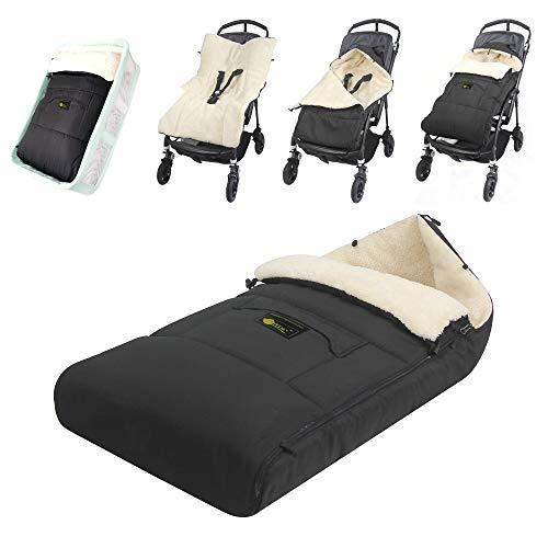 ZIIIW Baby Stroller Sleeping Bag Universal Bunting Bag Moistureproof Warm Footmuff Skidproof Baby Swaddle Wrap for 6-36M (Black)