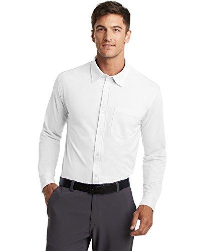 Port Authority Camisa social de malha masculina, branca, GG