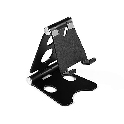 Fesjoy Suporte, suporte ajustável dobrável para telefone tablet suporte de mesa portátil de liga de alumínio, suporte universal preto