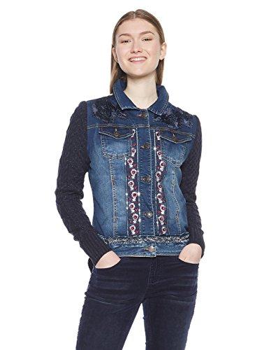 Desigual Damen Jacke CHAQ_EMUNÁ, Blau (Navy 5000), 38 (Herstellergröße: 40)